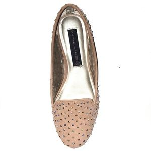 Crystal Stud Loafer Flats Perforated Blush Nude